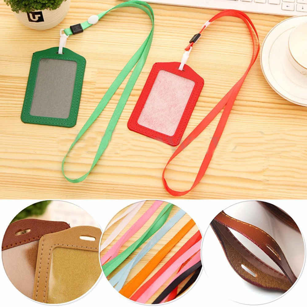 PU 1pcs Leather Candy Colors Pocket ID Card Pass Badge Holders Case Neck Strap Lanyard School Office Supplies Free Shipping