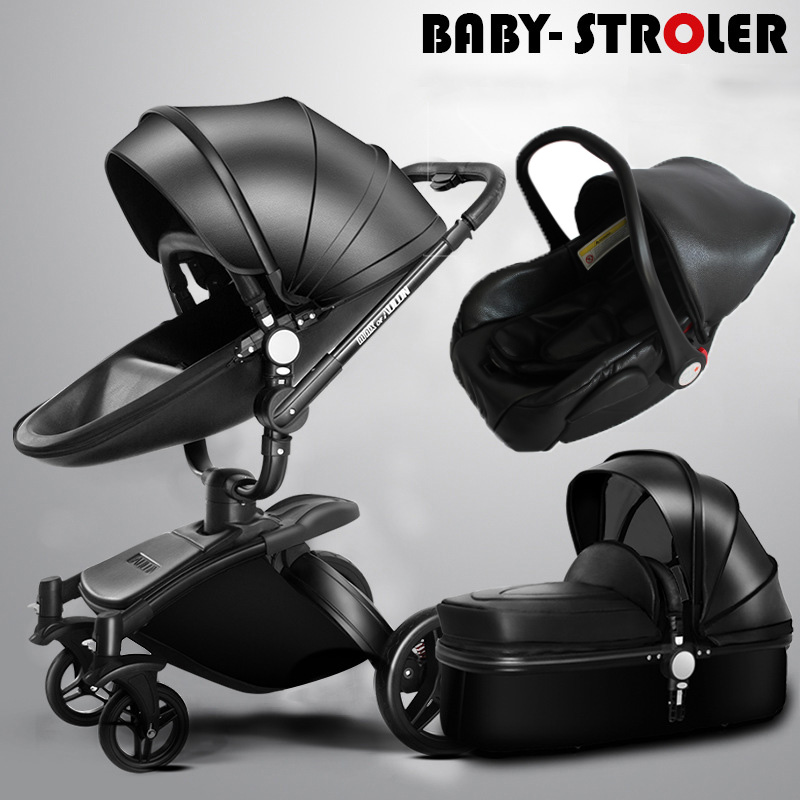 AULON Baby Stroller 3 in 1 With Car Seat High Landscope Folding Baby Carriage For Child From Prams Newborns carrinho de bebe folding baby stroller lightweight baby prams for newborns high landscape portable baby carriage sitting lying 2 in 1