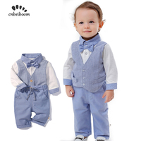 Baby boy Romoers clothing Sets toddler newborn tie bow vest romper and pant boys suit cotton 2019 new costume for kids birthday
