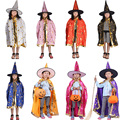 Halloween Baby Kids Clothing Costumes Boys Girls Hallowmas Party Clothes Poncho Cloak+Hat Enchanter Cosplay Children Wizard Wear