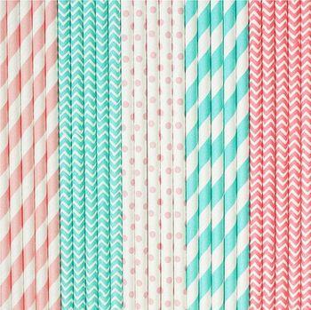 Ipalmayo 10000 Uds. Pajitas de papel con tema de fiesta de boda-Rosa bebé, azul claro a rayas, Chevron, lunares
