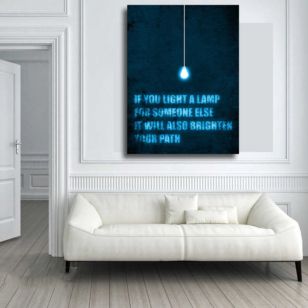 Qkartキャンバスプリントライトはランプオイル絵画スタイル写真上のキャンバス壁アート用リビングルームベッドルームホーム装飾