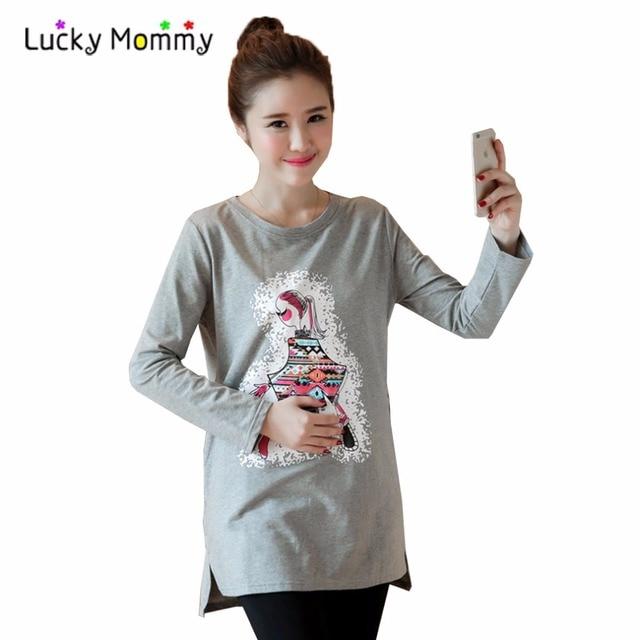 Материнства футболки для Беременных Милые Девушки Печати Беременных Футболки Плюс Размер женская Одежда Одежда для Беременных Женщин