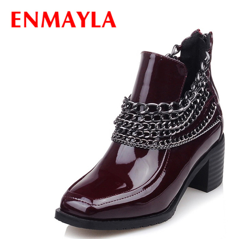 ENMAYLA Chains Charms Punk Shoes Woman High Heels Ankle Boots for Women's Med Heel Platform Autumn Boots Black Motorcycle Boots enmayla retro winter high heels ankle boots women nubuck charms shoes woman sexy red boots med heels square toe boots size 34 43