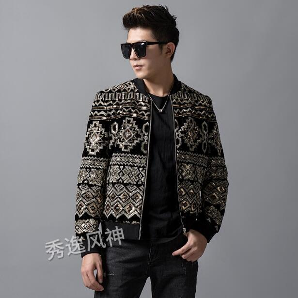 a51eac1e 2019 autumn and winter men's jacket Baroque palace wind imported velvet  heavy embroidery embroidery plus sequins casual jacket