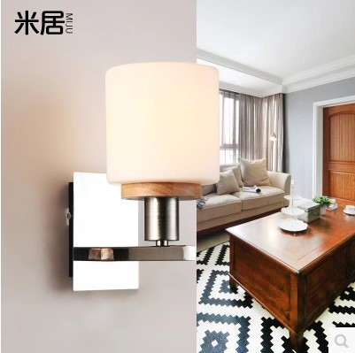 Sconces Modern Simple Wooden LED Wall Lights Fixtures For Home Bedroom Beside Lamp Arandela Lampara Pared Wandlamp black simple modern led wall lamp balcony bedroom aisle stair light fixtures wall sconces wandlamp appliques lampara pared