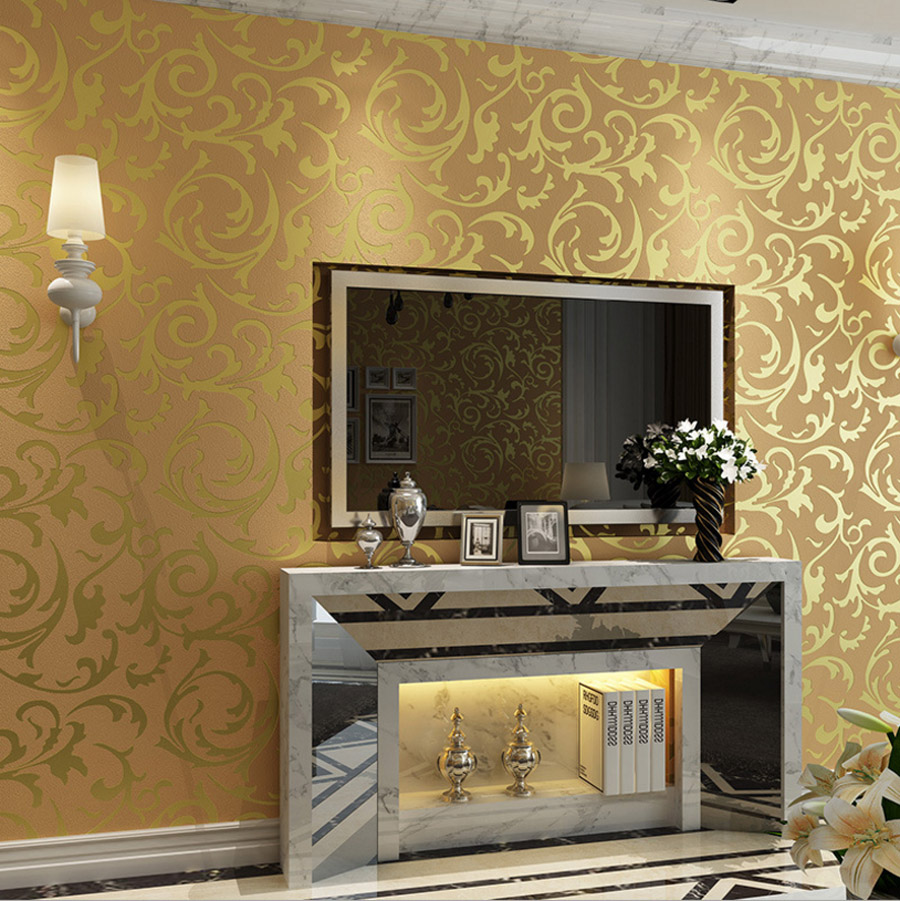 Home Design 3d Gold Ideas: Wholesale Europe Luxury Leaf Wallpaper 3D Beige Silver