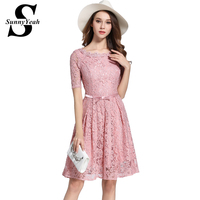 2017 New Vestidos Pink Red Summer Women Lace Dress Vintage Hollow Out Elegant Party Dresses High