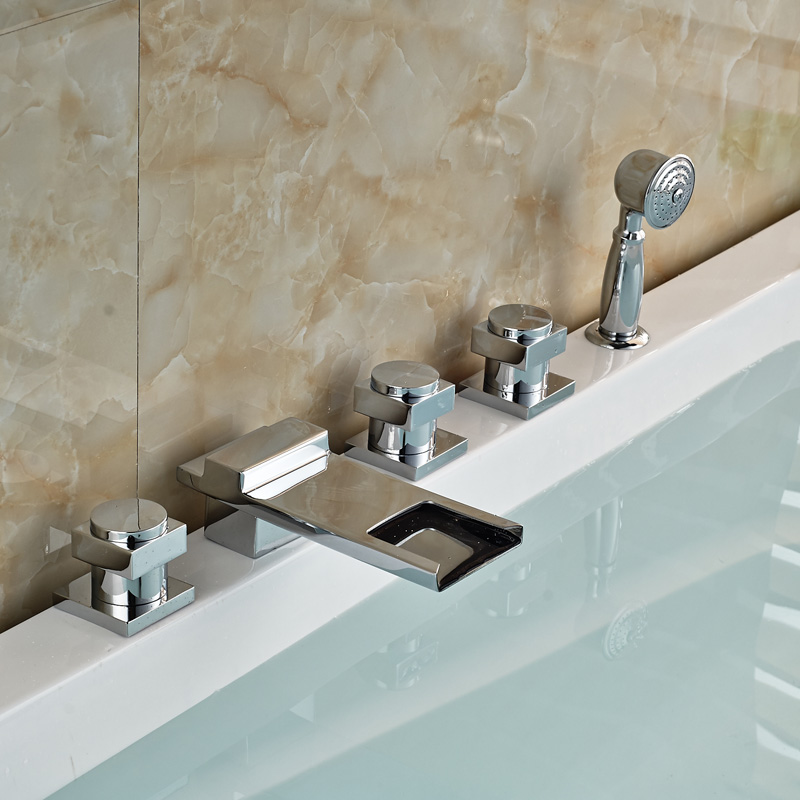 Luxury Brass Chrome Waterfall Bathroom Bathtub Mixer Faucets Tap ...