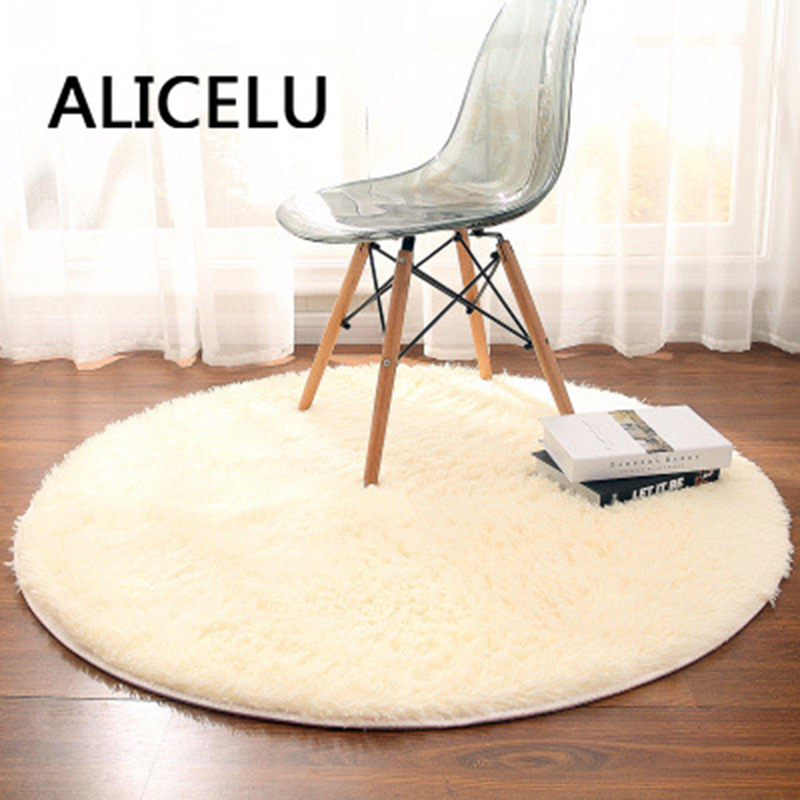 ALICELU Round Carpet Pure Color Soft Shaggy Living Room Rug Kids Bedroom European Modern Carpet 3D Mat Rug Machine Washable