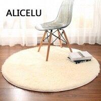 ALICELU Round Carpet Pure Color Soft Shaggy Living Room Rug Kids Bedroom European Modern Carpet 3D