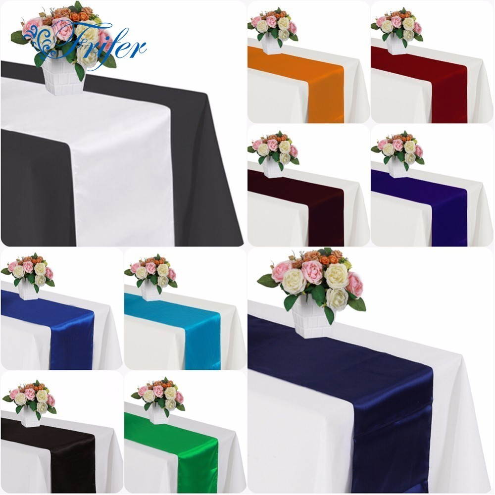Hot Koop Satin Tafelloper Bruiloft Receptie Banket Kleurrijke Thuis Textiel Decoraties Elegant Interieur Tafelloper