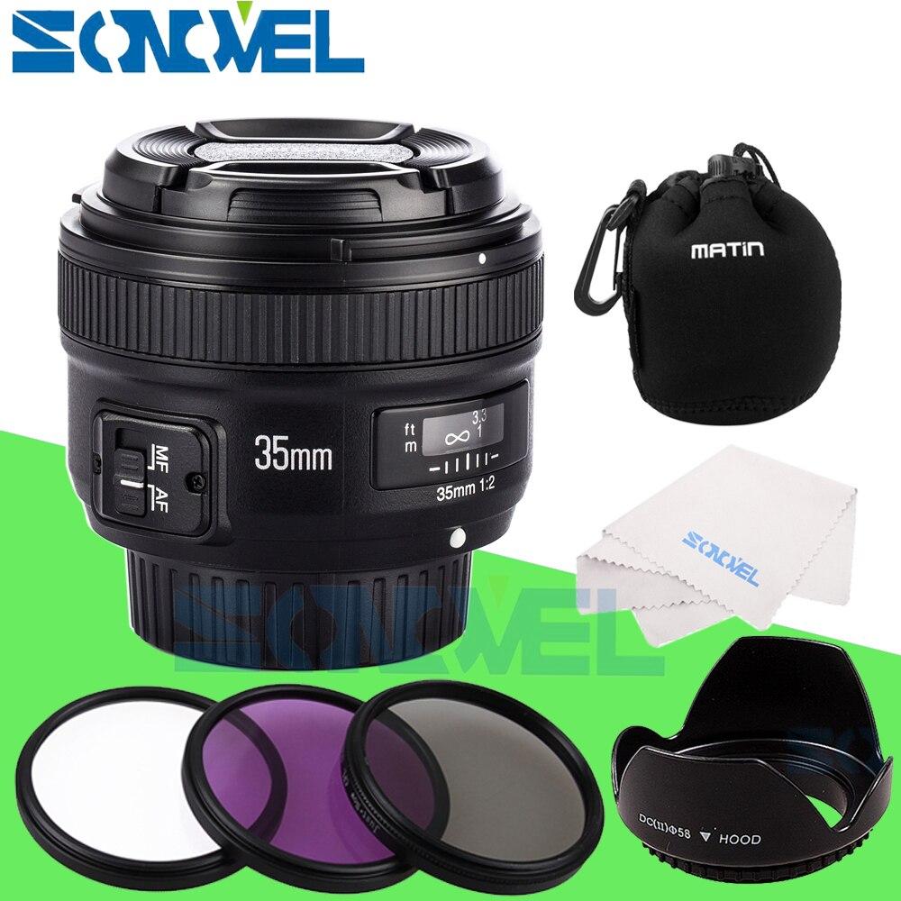 Yongnuo YN35mm F2 objectif Grand-angle Grand Ouverture Fixe Mise Au Point Automatique lentille Pour Nikon Canon + 58mm UV CPL FLD Objectif filtre