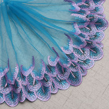 21CM DIY Clothes Accessories car Barbie skirt embroidery lace gold peacock feather tiara accessories L214