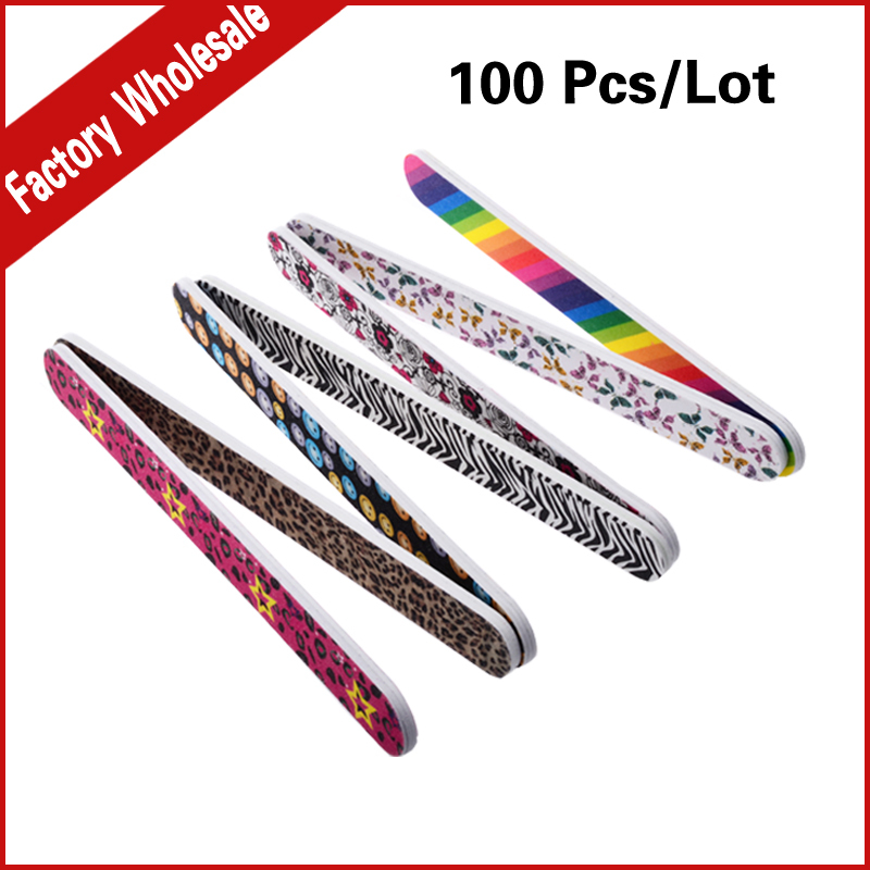 100pcs/lot Professional Sanding Nail File Buffering Polishing 100/180 Double Side Durable Buffer Manicure Art Tools