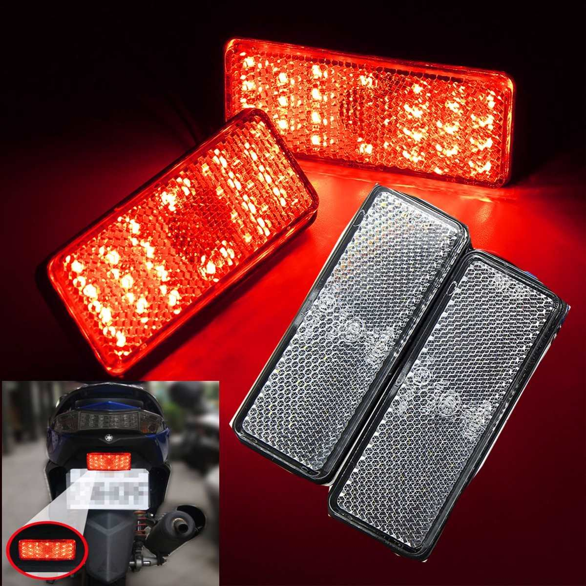 2Pcs Car Motorcycle Rectangle Reflector LED Rear Tail Brake Stop Light 6-Colors