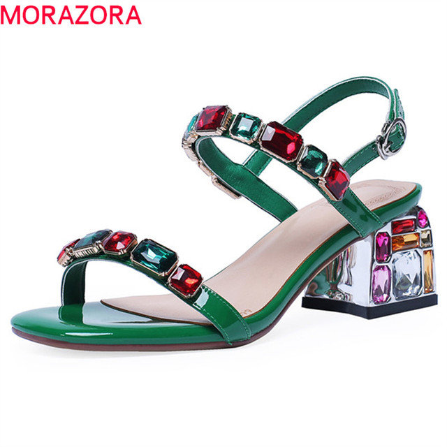 MORAZORA 2019 new arrival patent leather sandals women summer shoes crystal buckle Beach shoes simple party wedding shoes woman