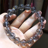 10.7mm Natural Black Hair Rutilated Quartz Bracelet Crystal Women Men Love Gift CLear Stone Charm Stretch Round Beads Jewelry