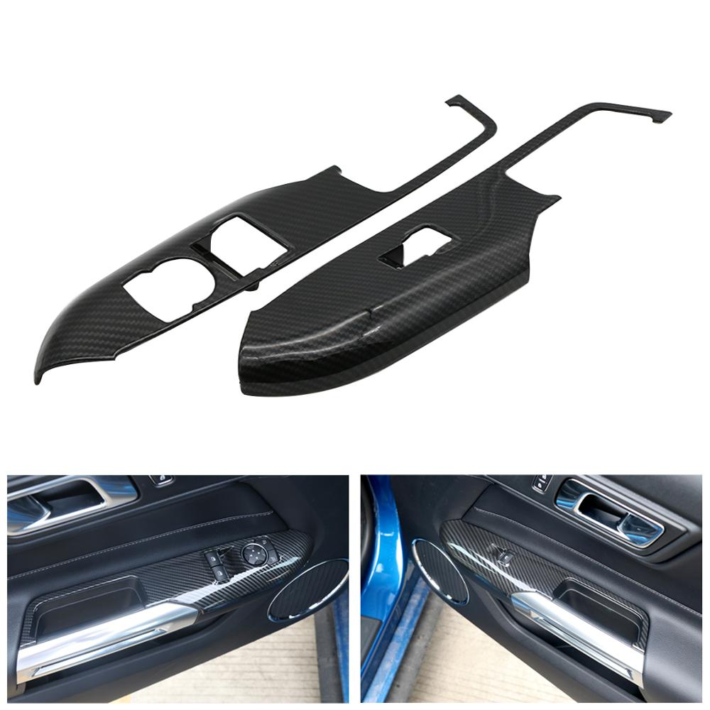 Carbon Black Interior Door Window Lift Switch Panel Cover Trim For Ford Mustang 2015 2016 2017
