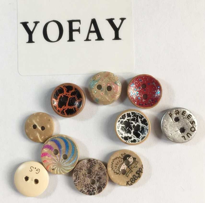 YOFAY 50pcs pack Coconut Shell 2 hole Painting Button For Clothing Sewing Decorative DIY Material Craft
