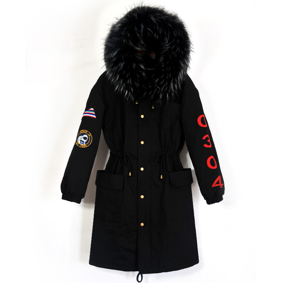 Winter Flowers Embroidery Jacket Women New Long Loose Parkas Large Fur Collar Hooded Coat Female Thick Outerwear Stree Style 2017 new fashion winter parkas large fur collar hooded jacket loose cotton coat thickened student long coat female outwears