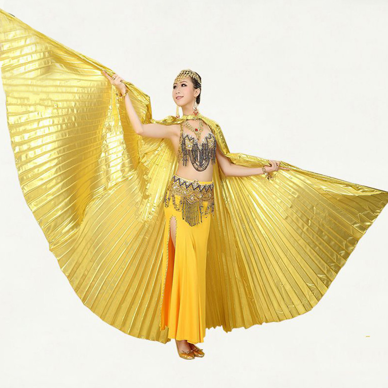 New Style Professional White Bauchtanz Kostüm Wing Belly Dance Transparenter Stoff Isis Wings Goldene Farbe No Sticks