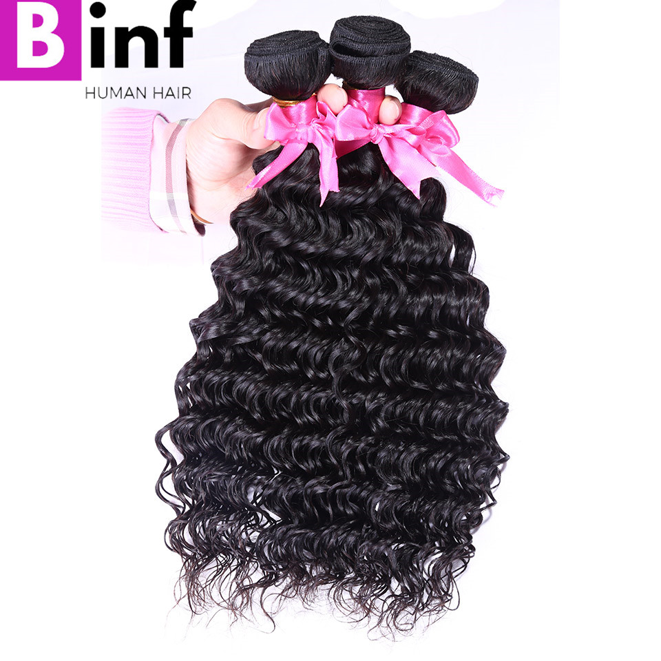 BINF Hair Indian Deep Wave 100% Human Hair Weave 3 Bundles Hair Extension Remy Hair Free Shipping Natural Color 1B