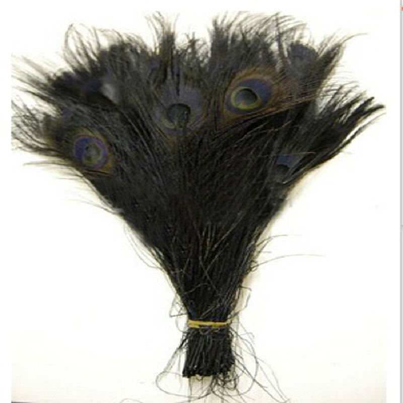 Free shipping 100 PCS black dyed peacock feather 10-12 inch / <font><b>25</b></font> to <font><b>30</b></font> cm peacock feathers for wedding decorations image
