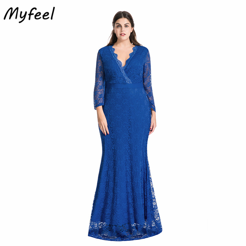 Myfeel Women Plus Size Maxi Dress V Neck Full Sleeve Floral Lace