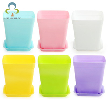 New 10pcs/pack FlowerPot Square Plastic Planter Nursery Garden Desk Home Decor Candy Color 7 Random Colors free shipping WYQ