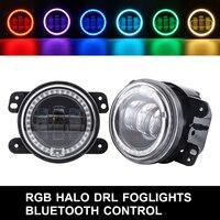 Car Headlamp For Jeep Bluetooth Control Car RGB Led Headlight Fog Light Halo Angel Ring For