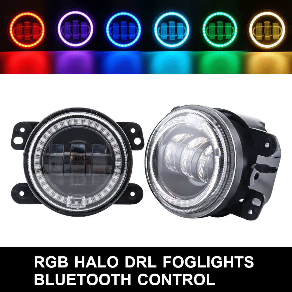 лучшая цена Car Headlamp for Jeep Bluetooth Control Car RGB Led Headlight Fog Light Halo Angel Ring For Jeep Wrangler RGB LED Lamp for Auto