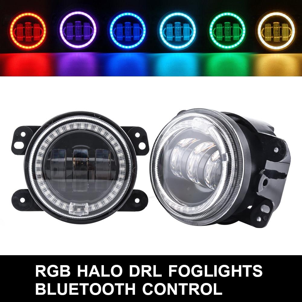 Car Headlamp for Jeep Bluetooth Control Car RGB Led Headlight Fog Light Halo Angel Ring For Jeep Wrangler RGB LED Lamp for Auto