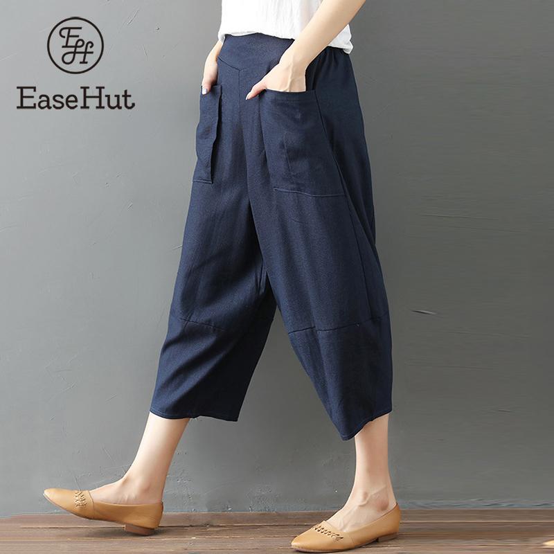EaseHut 2019 Elastic Waist Women   Wide     leg     Pants   Solid Loose Casual Design Ethnic Women Harem   Pant   Trousers Summer Cargo Pantalon