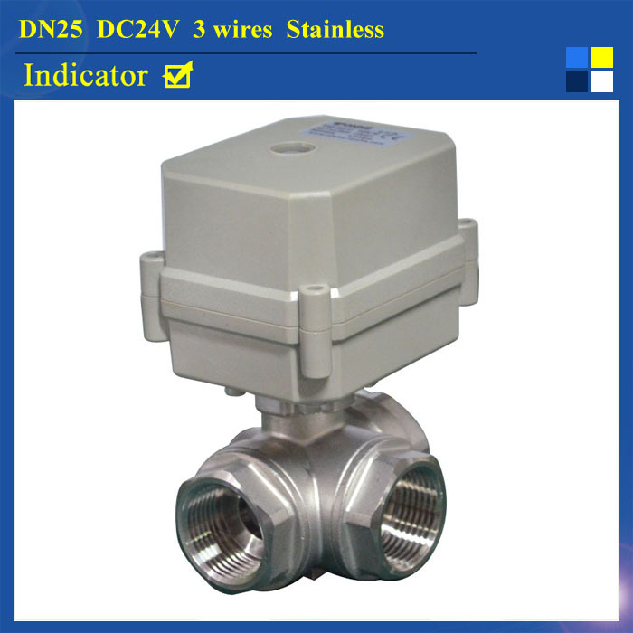 New BSP/NPT 1 (DN25) Stainless Steel DC24V 3 Wires 3 Way L Type Electric Shut Off Valve With Indicator
