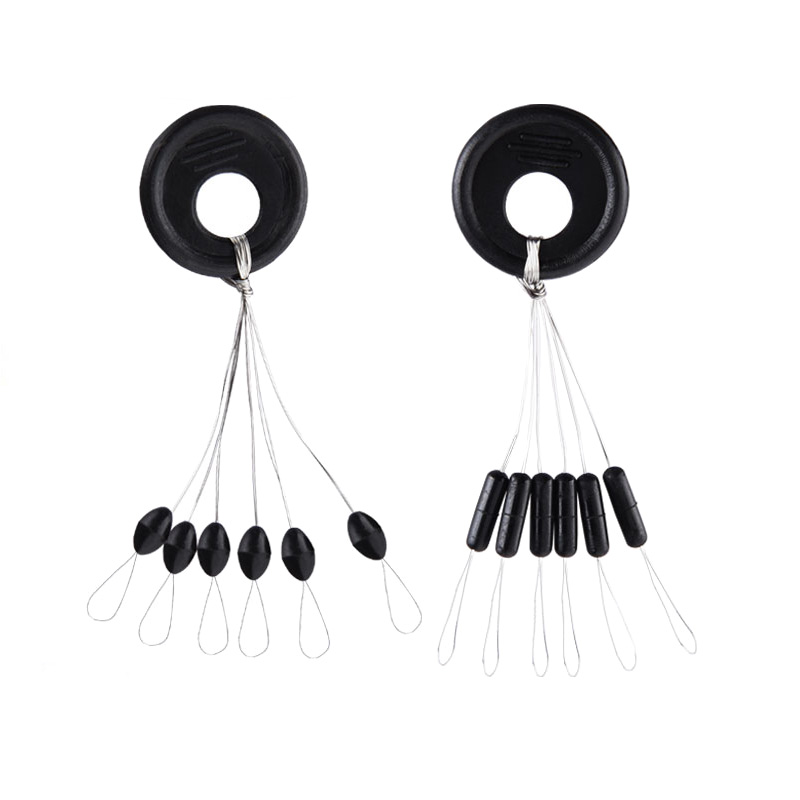 10 Groups 60PCS Float Black Rubber Stopper Fishing Bobber Stopper Float Oval Bean Space Fishing Line Tackle Accessories