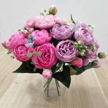 30cm Rose Pink Silk Peony Artificial Flowers Bouquet 5 Big Head and 4 Bud Cheap Fake for Home Wedding Decoration indoor