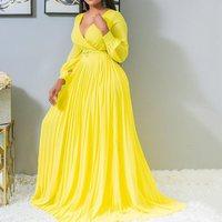 Sexy Yellow Plus Size Women Loose Long Dresses Pleated Plain Dinner Evening Party Vintage Female 2019 Autumn Maxi Dress 4XL 5XL