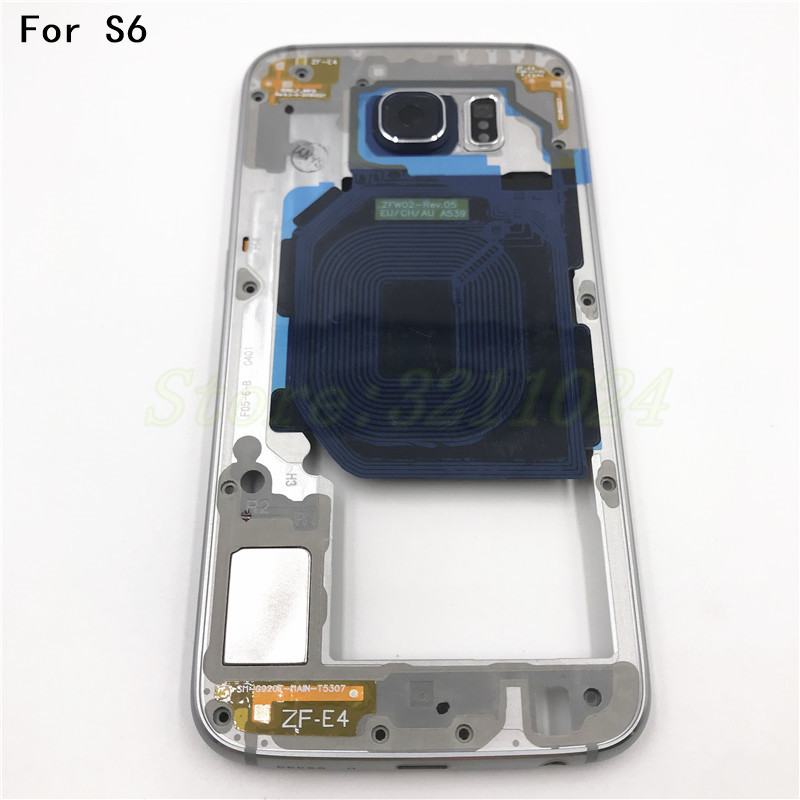 New Original Middle Plate Frame For Samsung Galaxy S6 G920F Full Housing Front Bezel Rear Battery Cover Housing image
