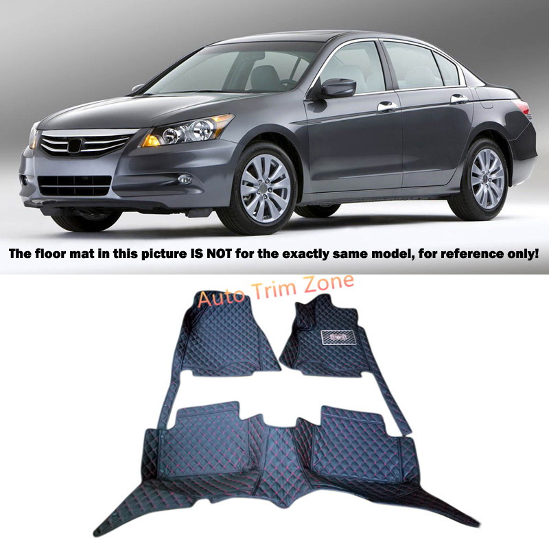 Black Interior Leather Floor Mats & Carpets Foot Pads Protector For Honda Accord 2008-2012