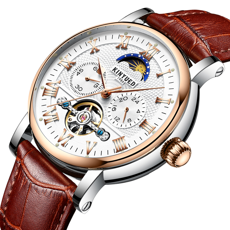 KINYUED Men Watches Top Brand Luxury Automatic Mechanical Watches Men Waterproof Dynamic Tourbillon Watch Genuine Leather watchKINYUED Men Watches Top Brand Luxury Automatic Mechanical Watches Men Waterproof Dynamic Tourbillon Watch Genuine Leather watch