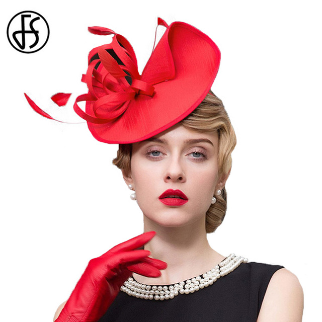 Fs Las Black Red Wedding Hats For Women Pillbox Fascinators Hat Formal Tail Tea Party Derby