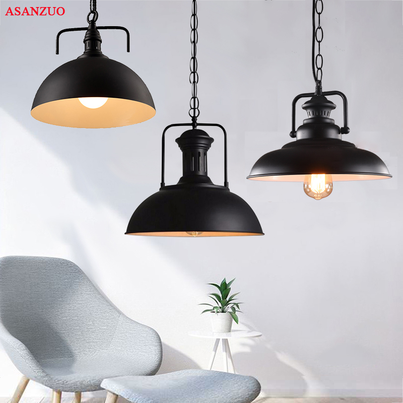 Industriale Lampade a sospensione Loft Lamparas Retro Lampada a Sospensione Per Ristorante Bar Coffee Shop Home E27 Light FixturesIndustriale Lampade a sospensione Loft Lamparas Retro Lampada a Sospensione Per Ristorante Bar Coffee Shop Home E27 Light Fixtures