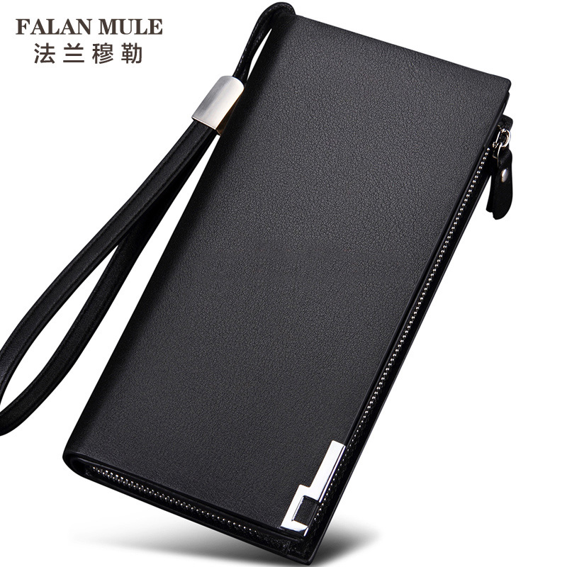 FALAN MULE 2016 Luxury Brand Men Wallets Long Men Purse Wallet Male Clutch Genuine Leather Wallet Men Business Male Wallet Coin