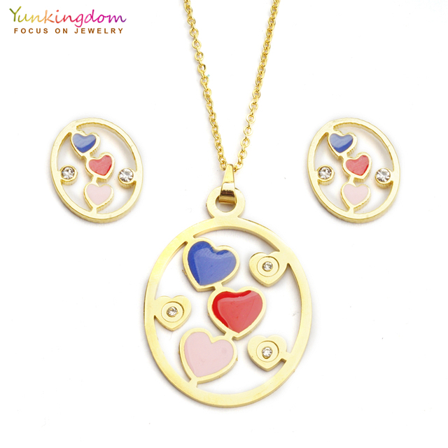 Yunkingdom blue red heart rhinestone jewelry sets for women fashion  stainless steel pendant necklace earring set UE0156 3cdd5d6f74f0