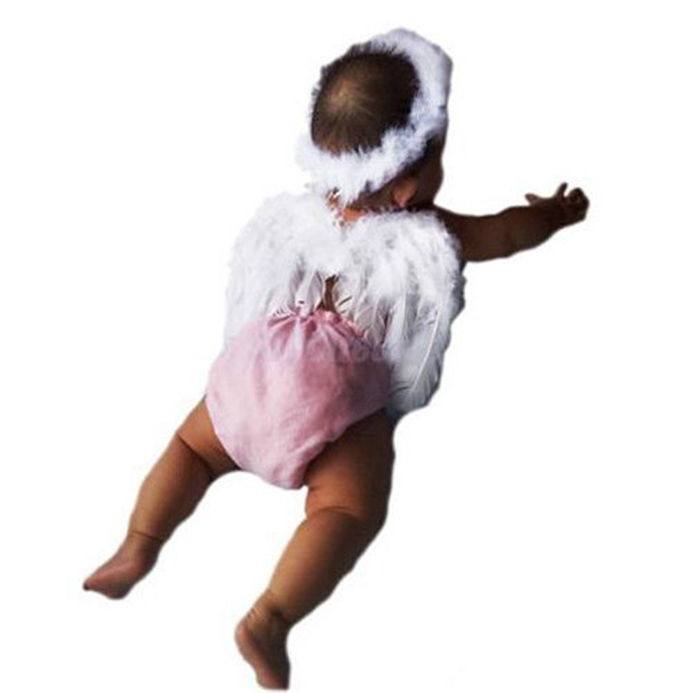 Infant Newborn Headwear Baby Kids Angel Fairy Feather Wing