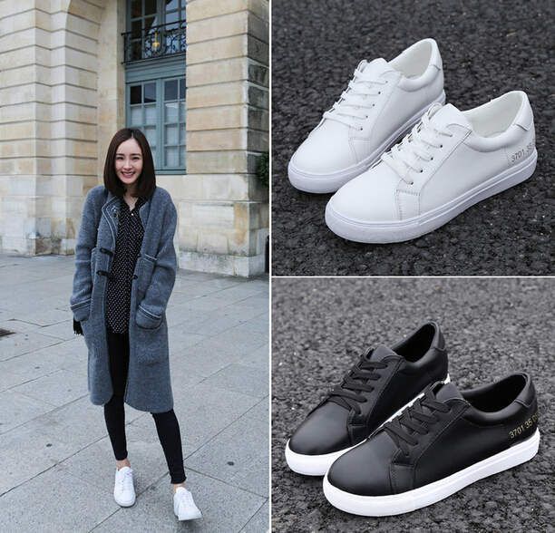 8bb73d2afe70 New Fashion Leather Lace Canvas Sneaker Women Shoes Women Flat White Shoes  White Casual Shoes