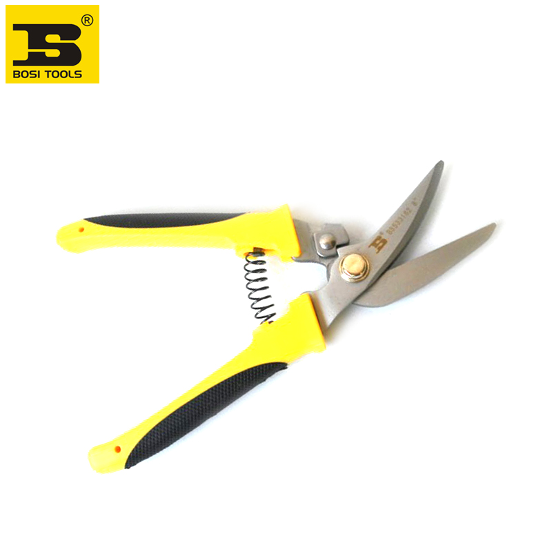 """BOSI new 8"""" bend nose stainless steel multi purpose garden pruning shears secateurs tools"""