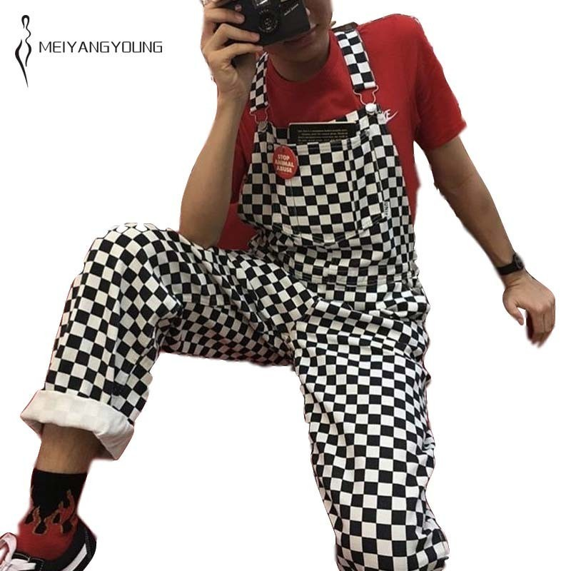MEIYANGYOUNG Checkerboard Plaid Rompers Womens Jumpsuit 2019 Wide Leg Hiphop Plus Size Jumpsuits Straight Overall Streetwear