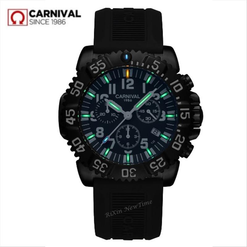 2018 Chronograaf T25 Tritium Lichtgevende stop horloge mannen luxe merk zwitserland Ronda quartz mannen horloges sport klok uhren montre-in Quartz Horloges van Horloges op  Groep 1